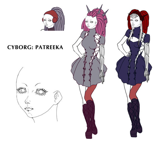 robot girl planet 15 comic book drawing of Patreeka™